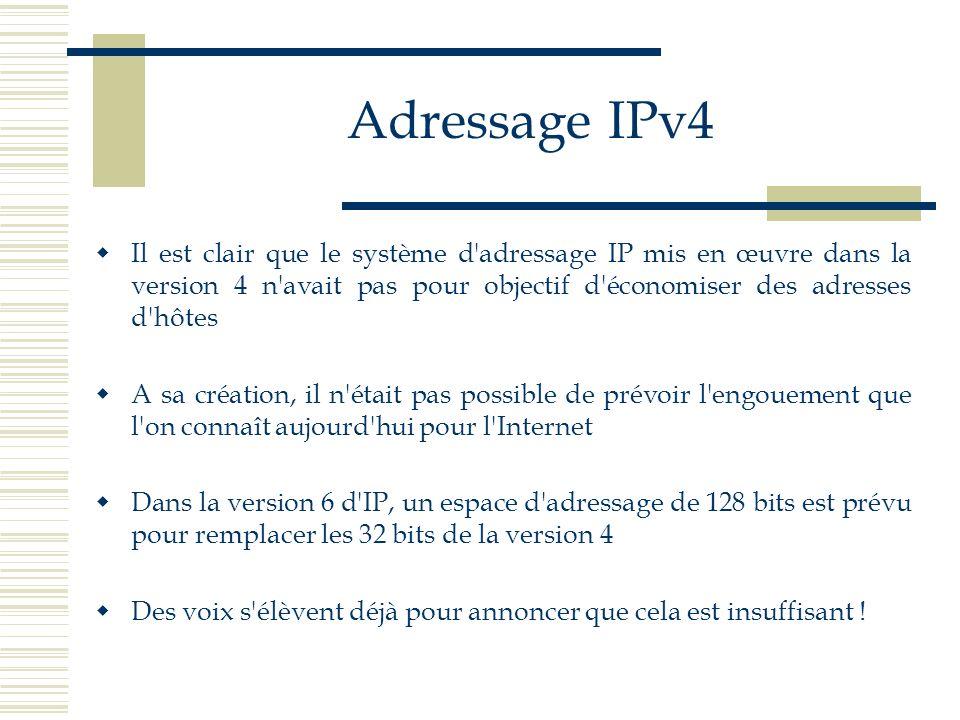 Adressage IPv4 Il est clair que le système d adressage IP mis en œuvre dans la version 4 n avait pas pour objectif d économiser des adresses d hôtes.