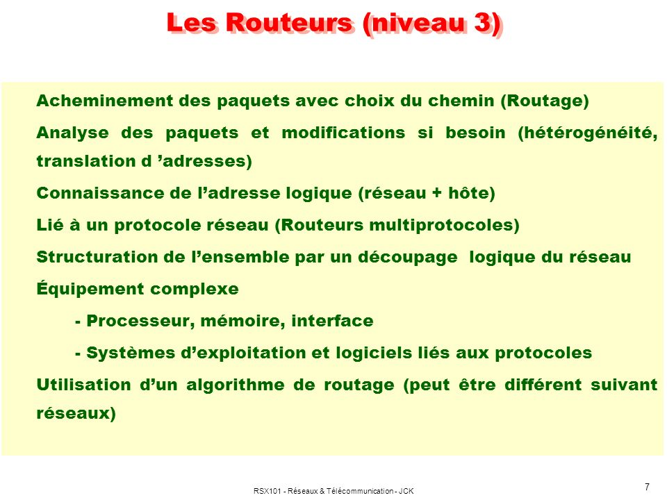 RSX101 - Réseaux & Télécommunication - JCK