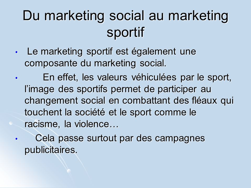 Du marketing social au marketing sportif