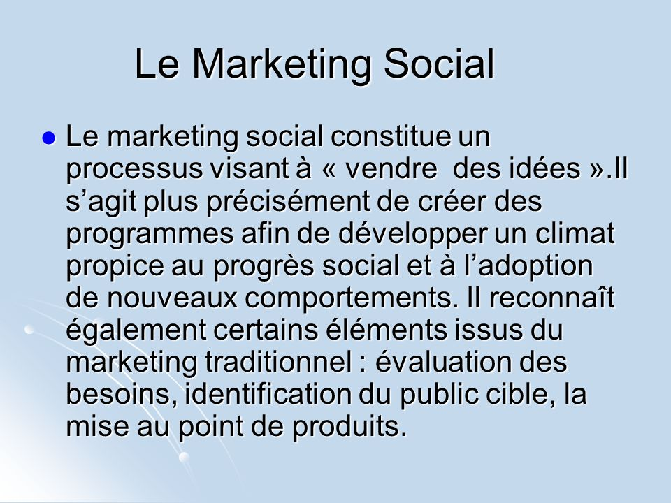 Le Marketing Social