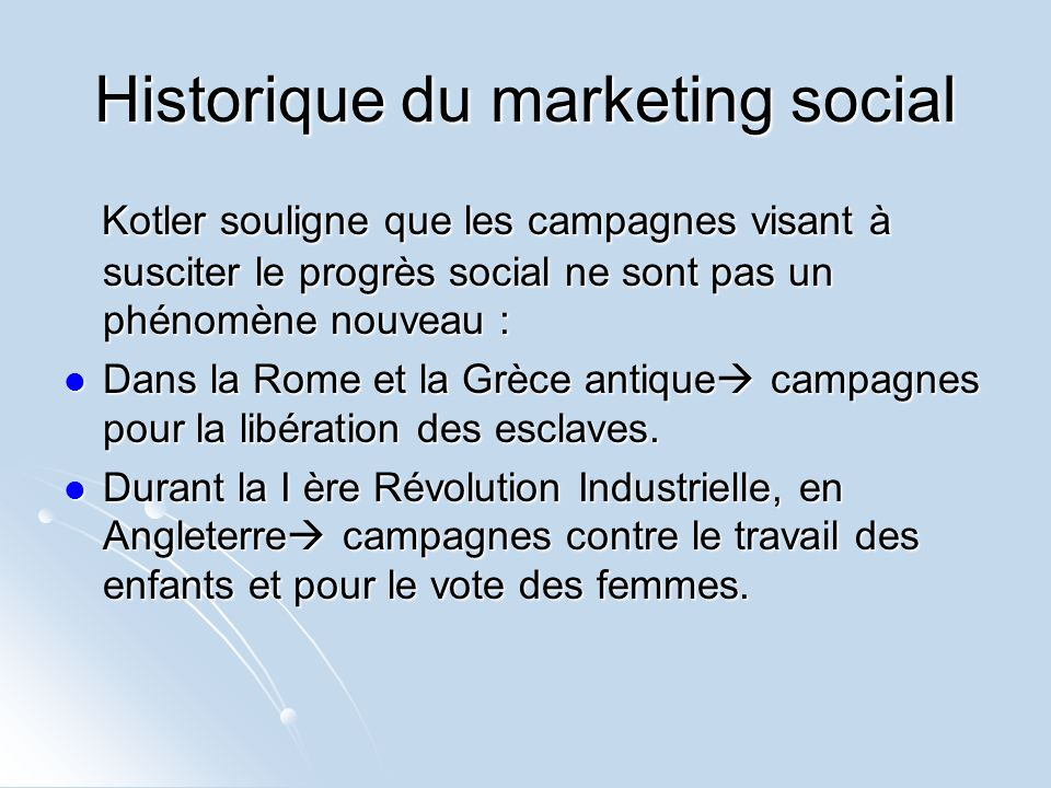 Historique du marketing social