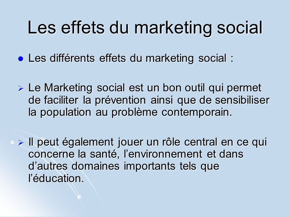 Les effets du marketing social