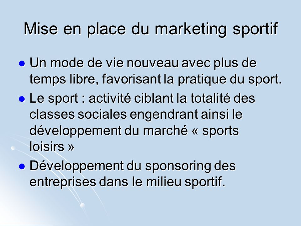 Mise en place du marketing sportif