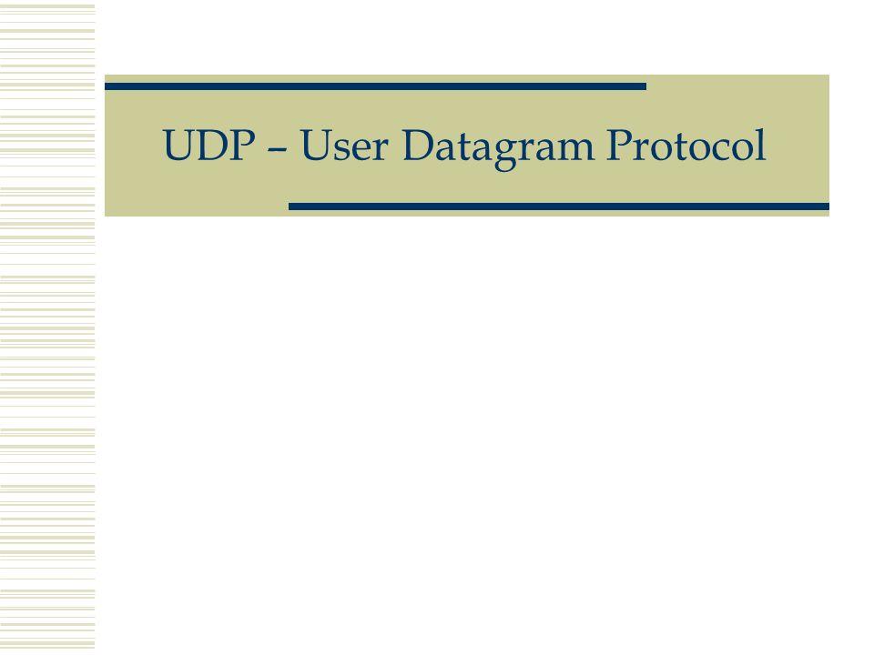 UDP – User Datagram Protocol