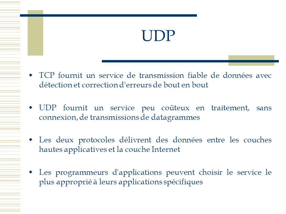 UDP TCP fournit un service de transmission fiable de données avec détection et correction d erreurs de bout en bout.