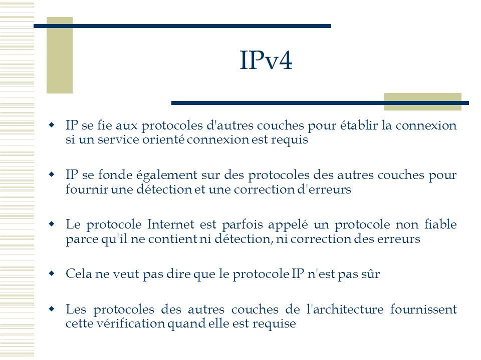 IPv4 IP se fie aux protocoles d autres couches pour établir la connexion si un service orienté connexion est requis.