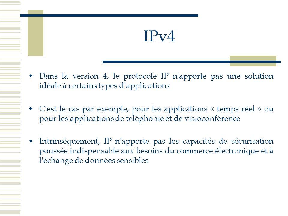 IPv4 Dans la version 4, le protocole IP n apporte pas une solution idéale à certains types d applications.