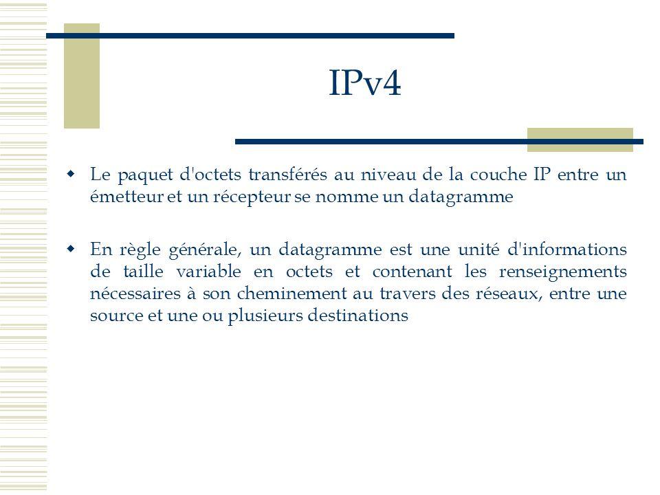 IPv4 Le paquet d octets transférés au niveau de la couche IP entre un émetteur et un récepteur se nomme un datagramme.