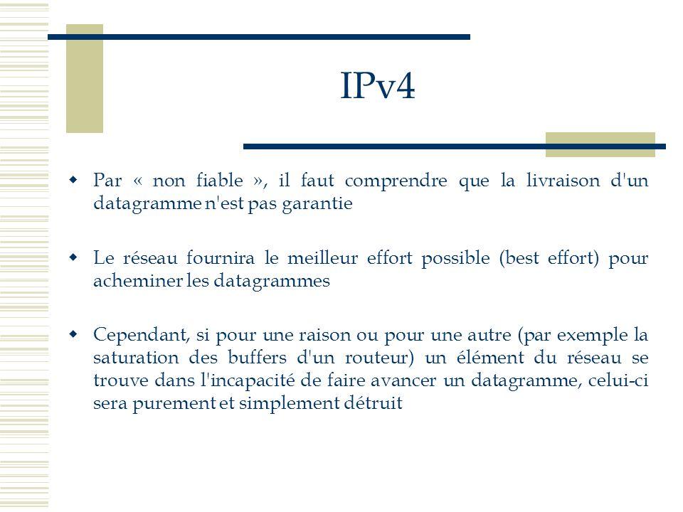 IPv4 Par « non fiable », il faut comprendre que la livraison d un datagramme n est pas garantie.
