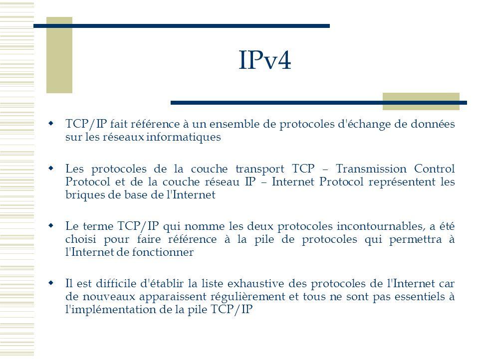 IPv4 TCP/IP fait référence à un ensemble de protocoles d échange de données sur les réseaux informatiques.