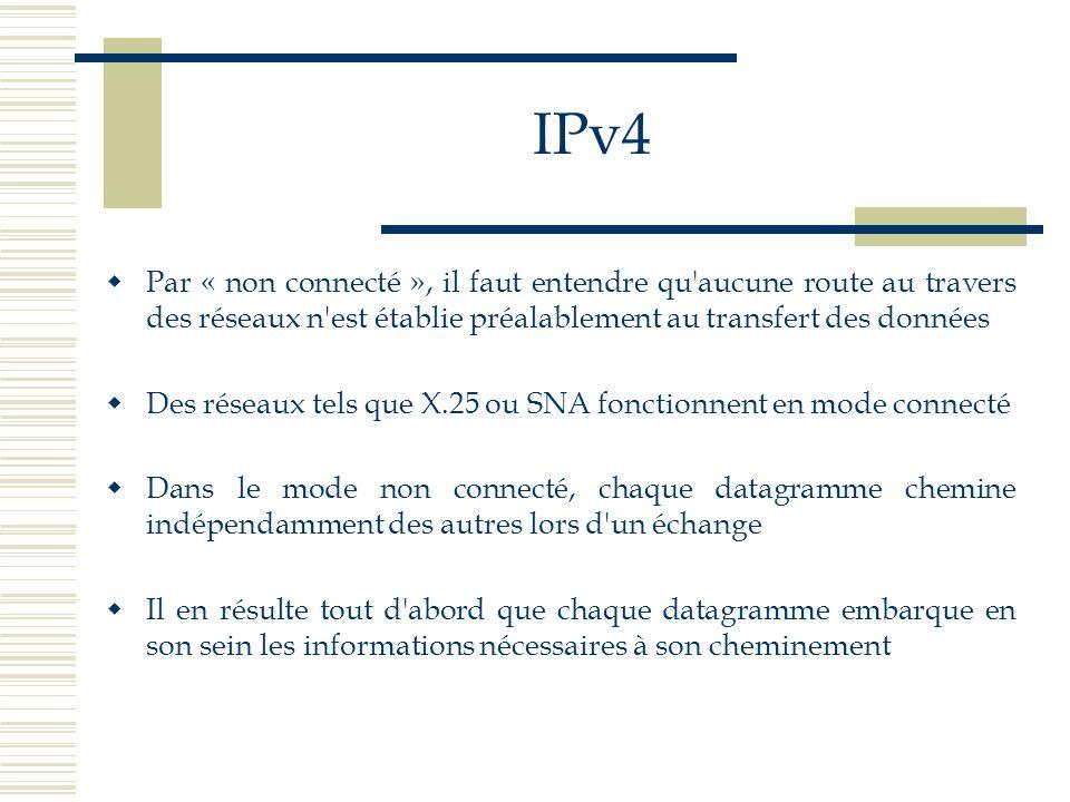 IPv4 Par « non connecté », il faut entendre qu aucune route au travers des réseaux n est établie préalablement au transfert des données.