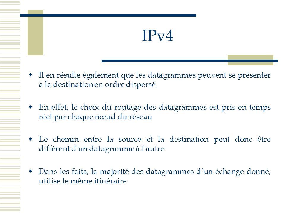 IPv4 Il en résulte également que les datagrammes peuvent se présenter à la destination en ordre dispersé.
