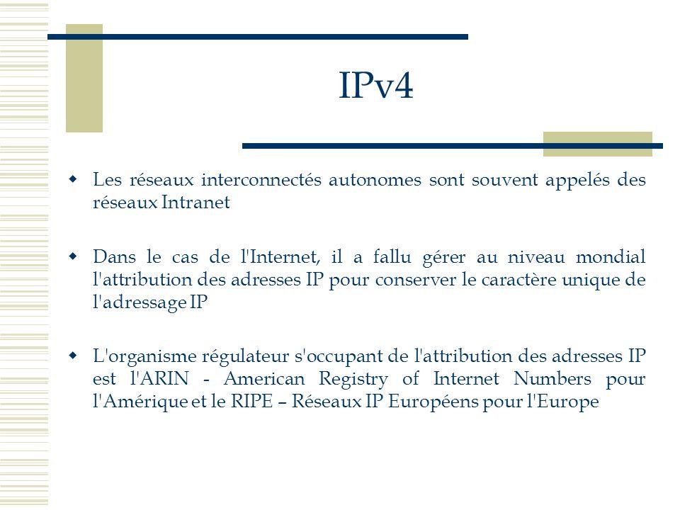 IPv4Les réseaux interconnectés autonomes sont souvent appelés des réseaux Intranet.