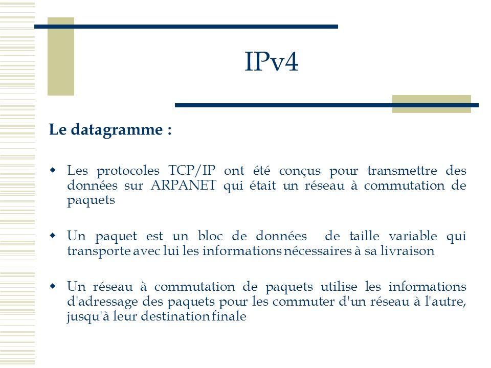 IPv4 Le datagramme : Les protocoles TCP/IP ont été conçus pour transmettre des données sur ARPANET qui était un réseau à commutation de paquets.