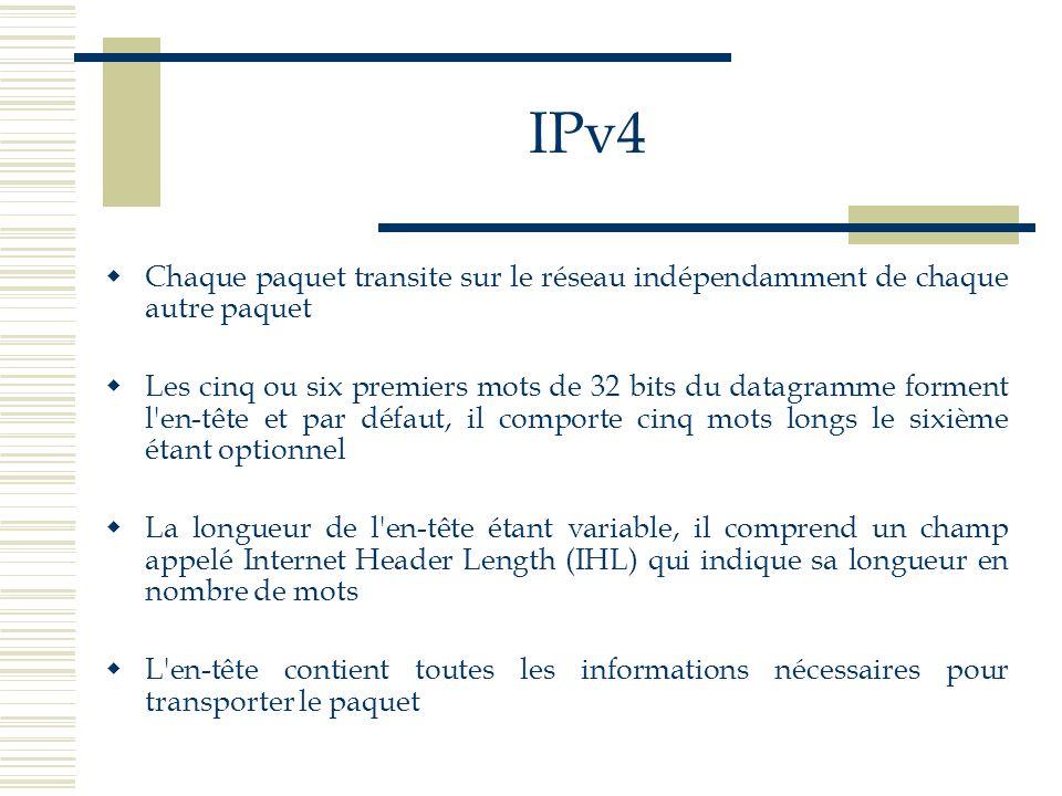 IPv4 Chaque paquet transite sur le réseau indépendamment de chaque autre paquet.