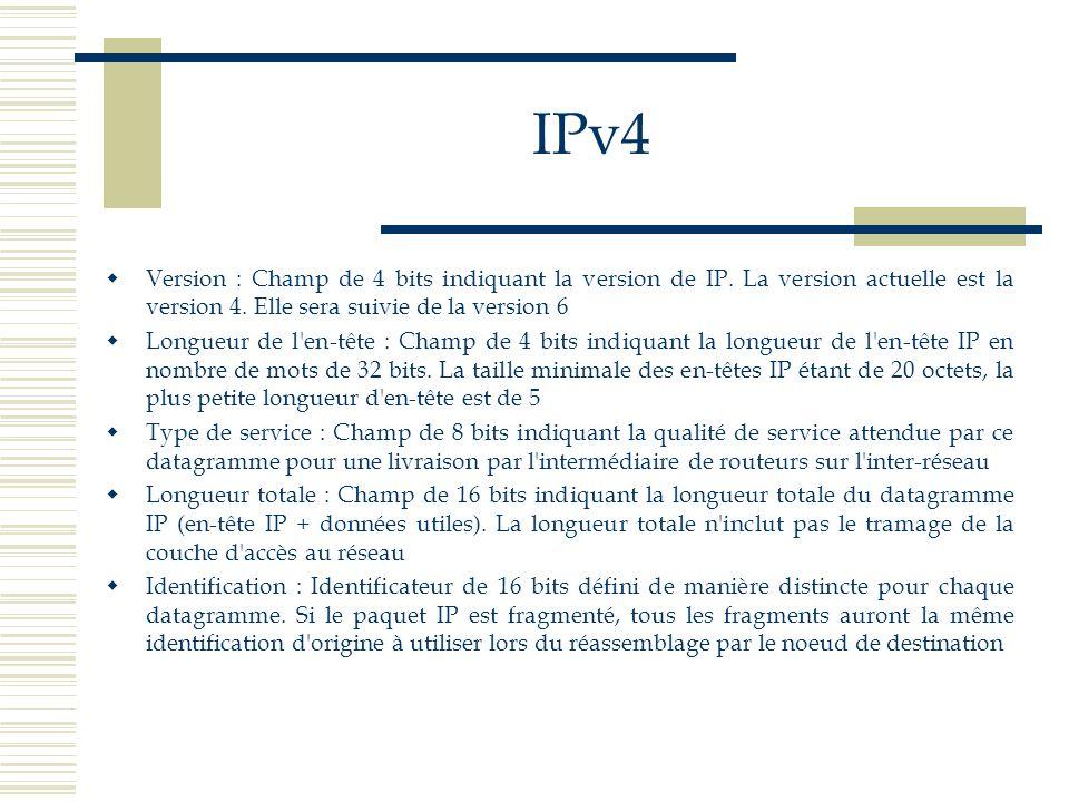IPv4Version : Champ de 4 bits indiquant la version de IP. La version actuelle est la version 4. Elle sera suivie de la version 6.