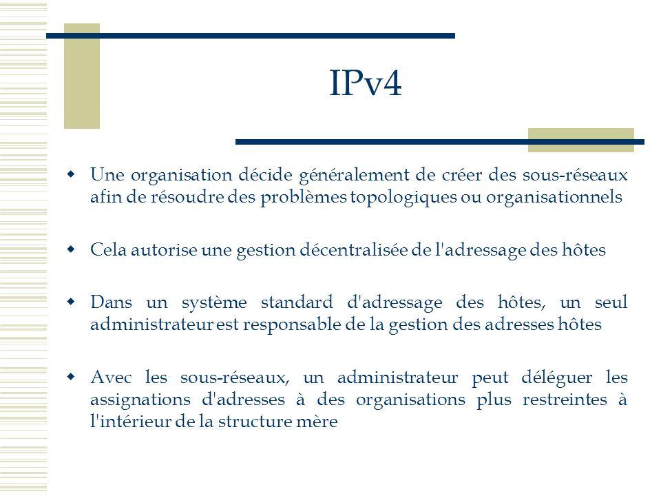 IPv4 Une organisation décide généralement de créer des sous-réseaux afin de résoudre des problèmes topologiques ou organisationnels.