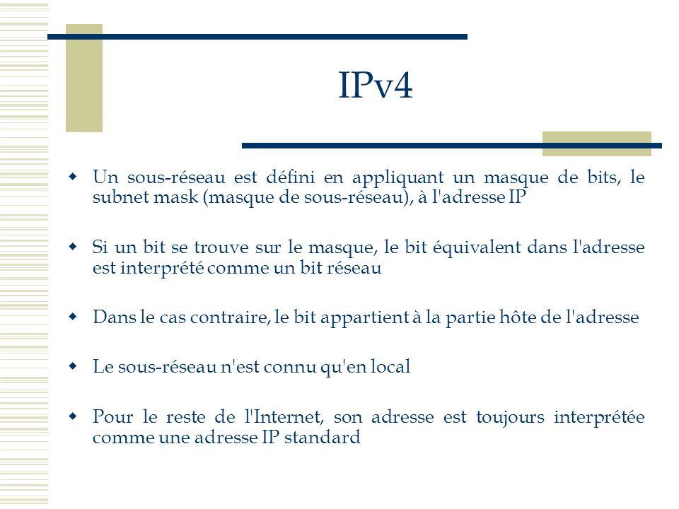 IPv4Un sous-réseau est défini en appliquant un masque de bits, le subnet mask (masque de sous-réseau), à l adresse IP.