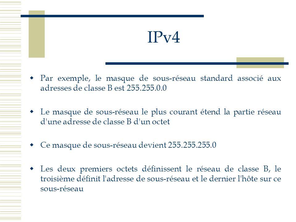 IPv4 Par exemple, le masque de sous-réseau standard associé aux adresses de classe B est 255.255.0.0.