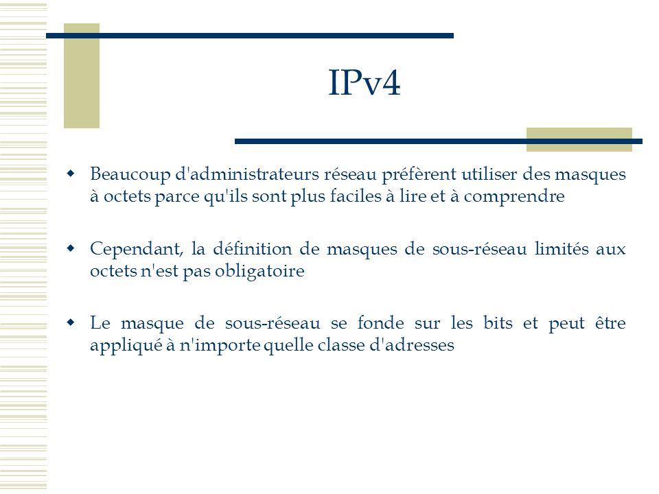 IPv4 Beaucoup d administrateurs réseau préfèrent utiliser des masques à octets parce qu ils sont plus faciles à lire et à comprendre.