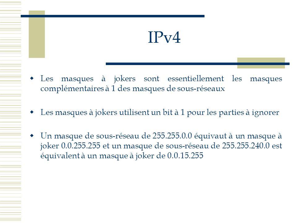 IPv4 Les masques à jokers sont essentiellement les masques complémentaires à 1 des masques de sous-réseaux.
