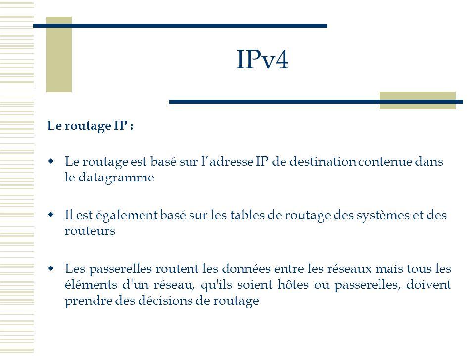 IPv4 Le routage IP : Le routage est basé sur l'adresse IP de destination contenue dans le datagramme.