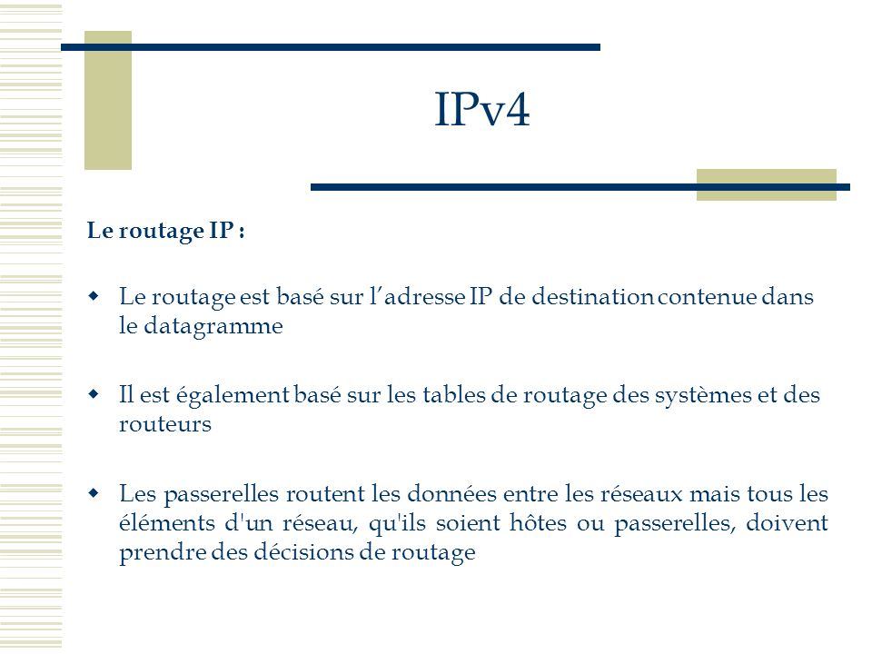 IPv4Le routage IP : Le routage est basé sur l'adresse IP de destination contenue dans le datagramme.