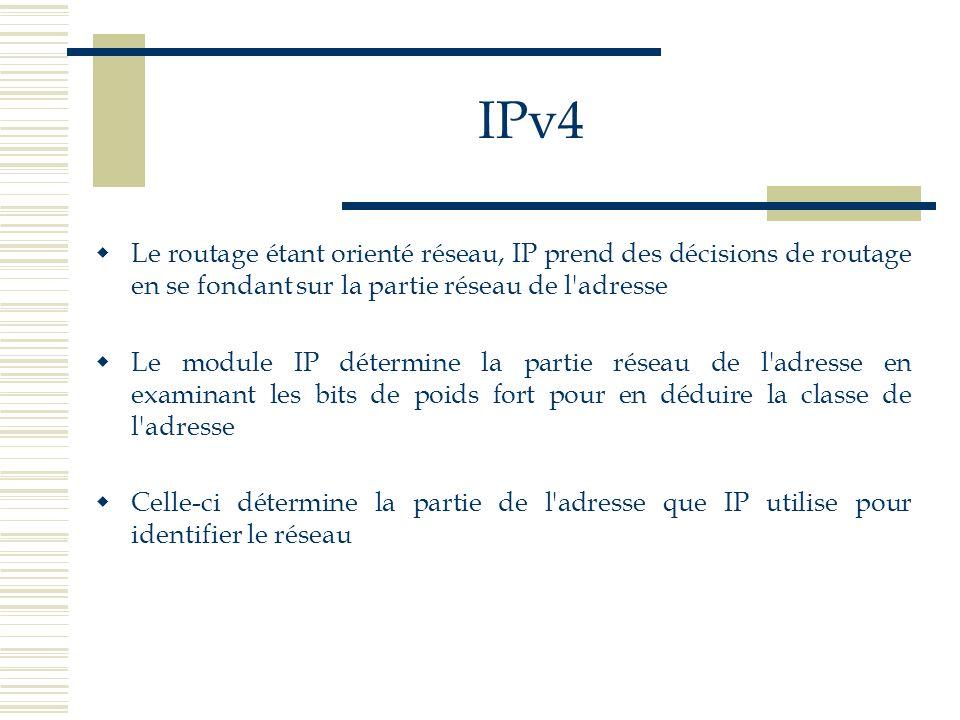 IPv4 Le routage étant orienté réseau, IP prend des décisions de routage en se fondant sur la partie réseau de l adresse.