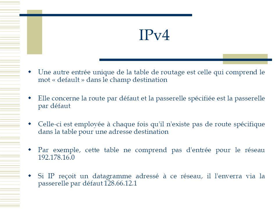 IPv4 Une autre entrée unique de la table de routage est celle qui comprend le mot « default » dans le champ destination.