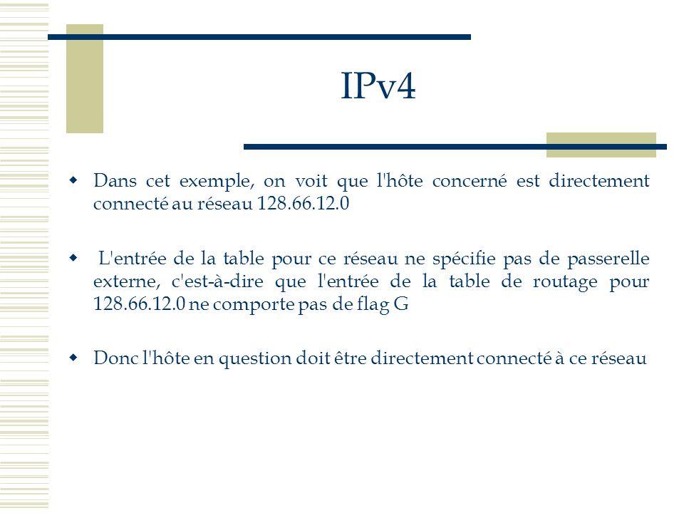 IPv4Dans cet exemple, on voit que l hôte concerné est directement connecté au réseau 128.66.12.0.
