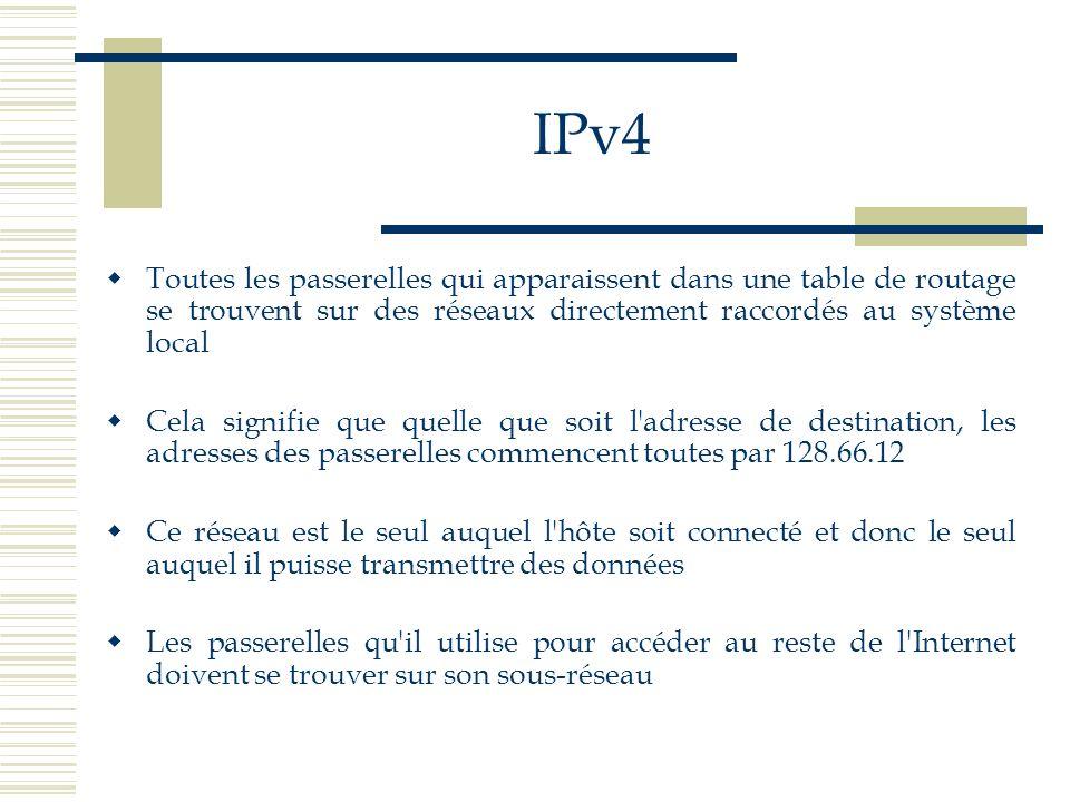 IPv4Toutes les passerelles qui apparaissent dans une table de routage se trouvent sur des réseaux directement raccordés au système local.