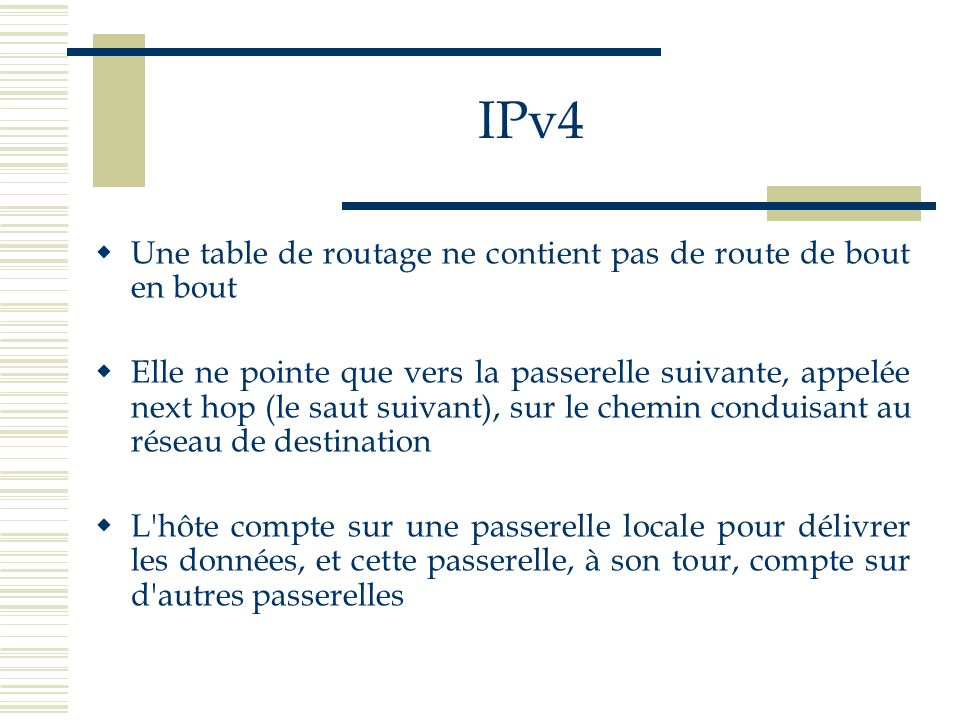 IPv4 Une table de routage ne contient pas de route de bout en bout