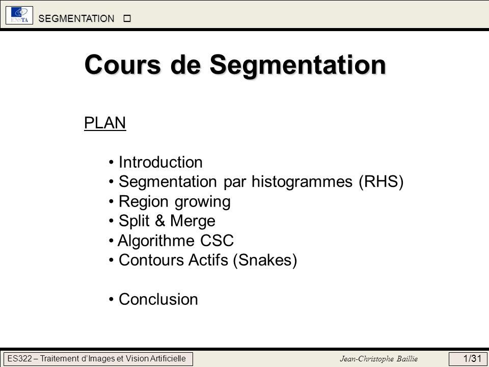 Cours de Segmentation PLAN Introduction