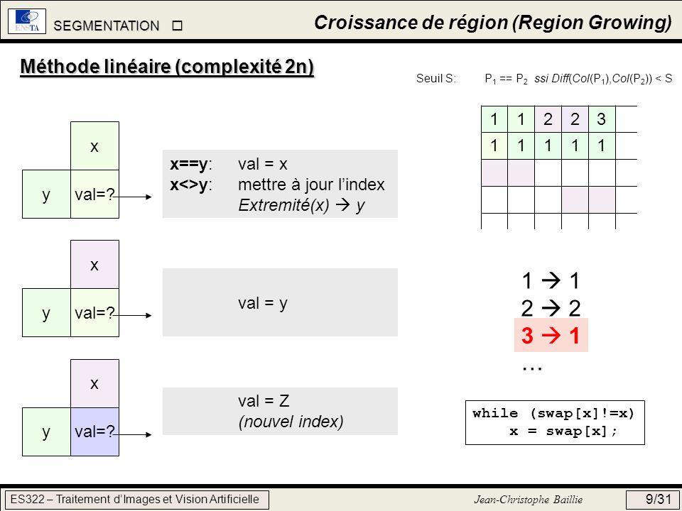 1  1 2  2 3  3 … 3  1 Croissance de région (Region Growing)