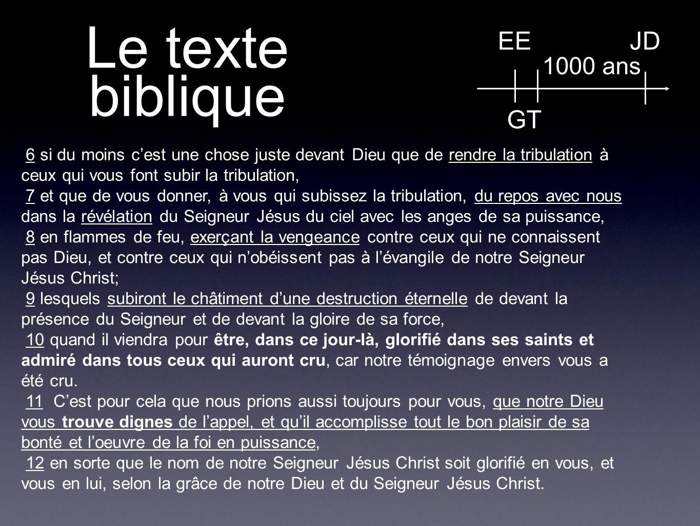 Le texte biblique EE GT JD 1000 ans