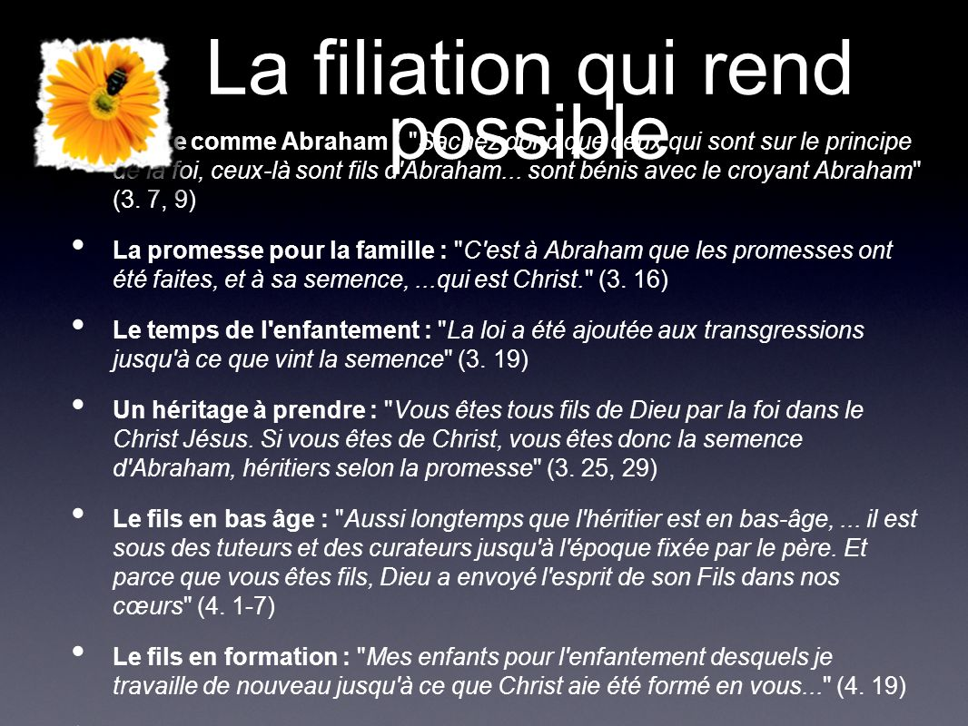 La filiation qui rend possible