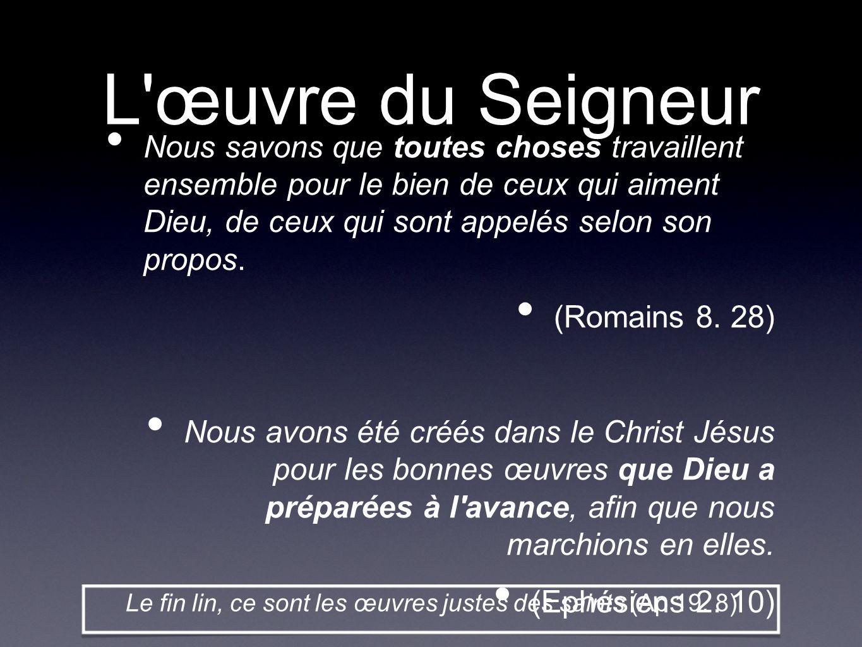 Le fin lin, ce sont les œuvres justes des saints (Ap 19. 8)