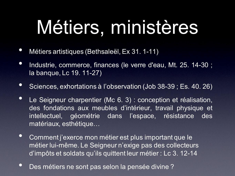 Métiers, ministères Métiers artistiques (Bethsaleël, Ex 31. 1-11)