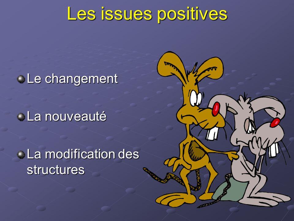 Les issues positives Le changement La nouveauté
