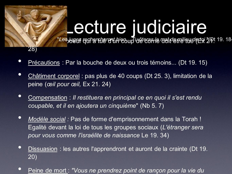 Lecture judiciaire Les juges rechercheront bien... Tu ôteras le mal du milieu de toi (Dt 19. 18-19)