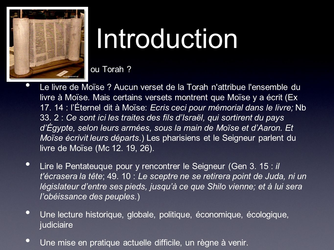 Introduction Pentateuque ou Torah