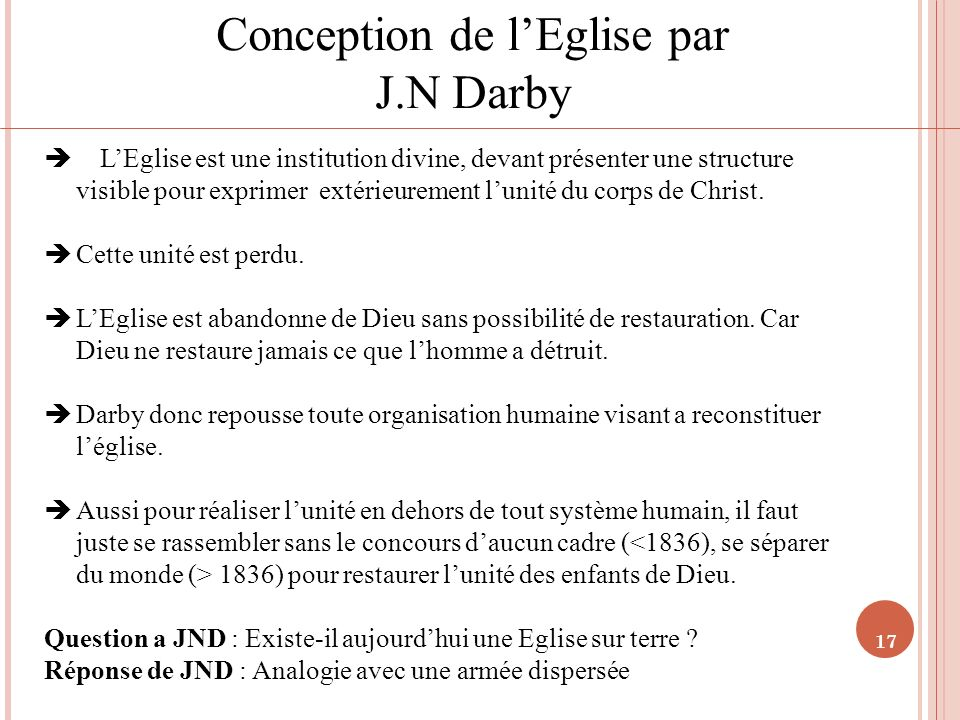 Conception de l'Eglise par J.N Darby