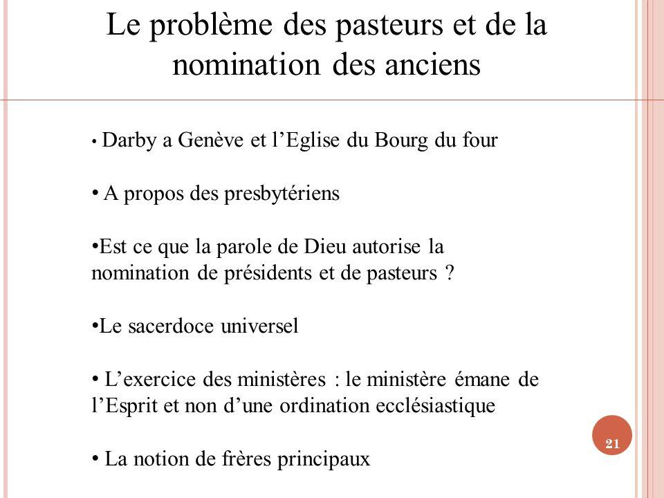 Le problème des pasteurs et de la nomination des anciens