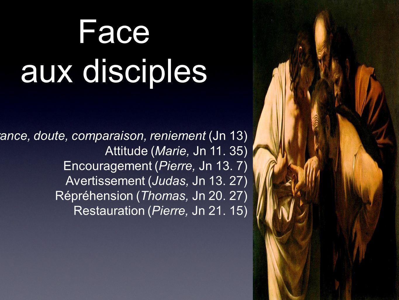 Face aux disciples Ignorance, doute, comparaison, reniement (Jn 13)
