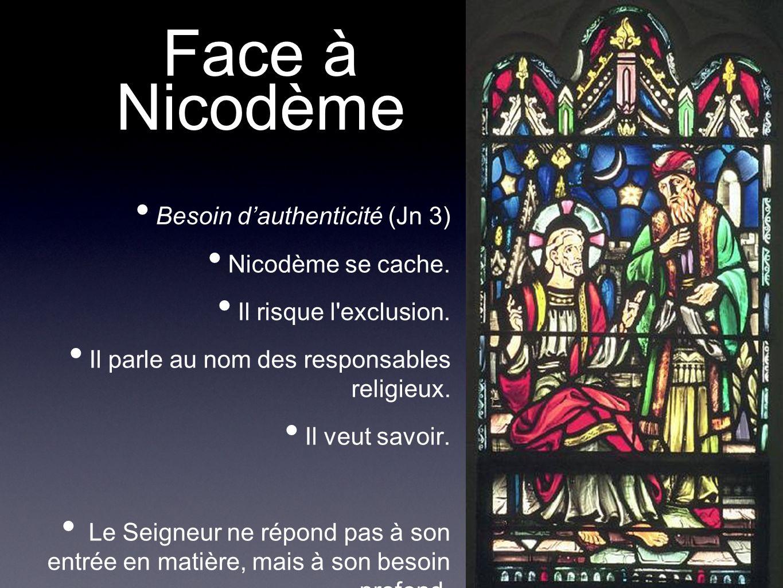 Face à Nicodème Besoin d'authenticité (Jn 3) Nicodème se cache.