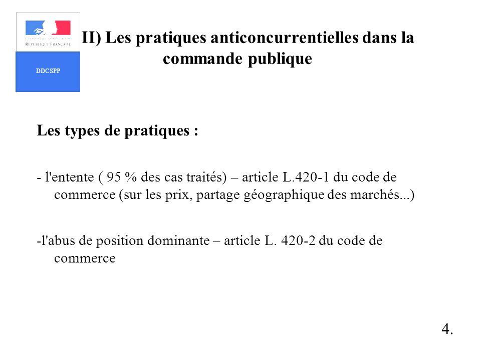 II) Les pratiques anticoncurrentielles dans la commande publique