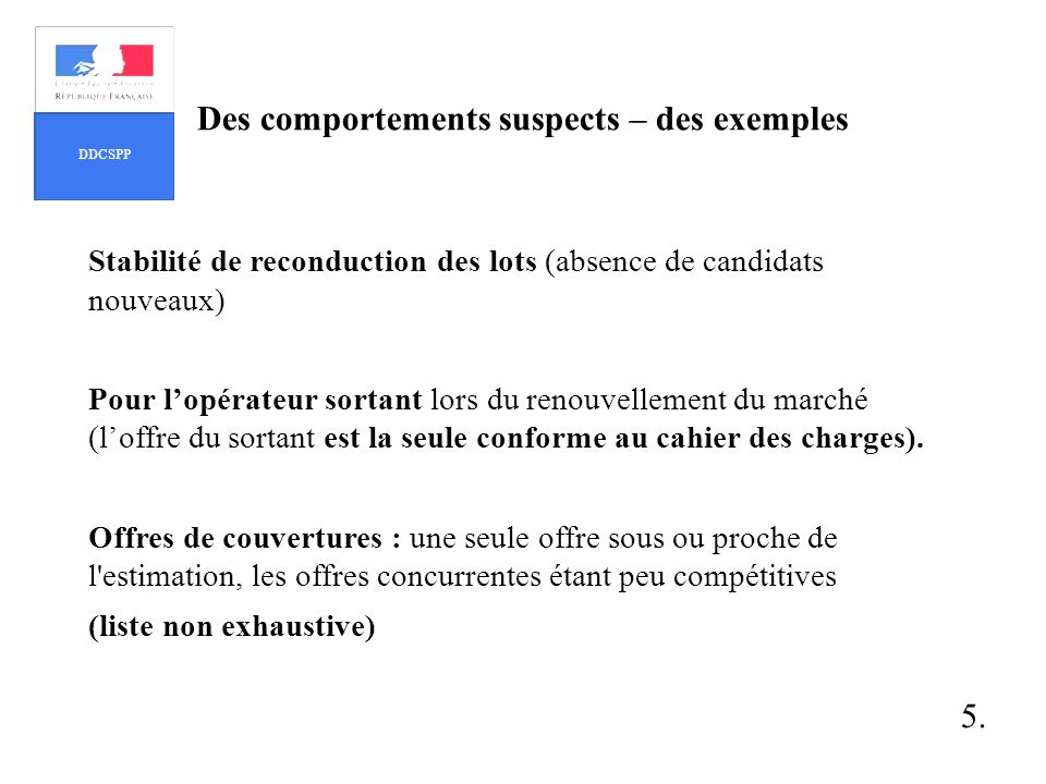Des comportements suspects – des exemples