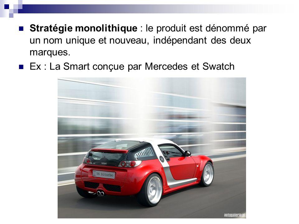 Stratégie monolithique : le produit est dénommé par un nom unique et nouveau, indépendant des deux marques.