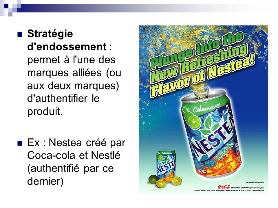 Stratégie d endossement : permet à l une des marques alliées (ou aux deux marques) d authentifier le produit.