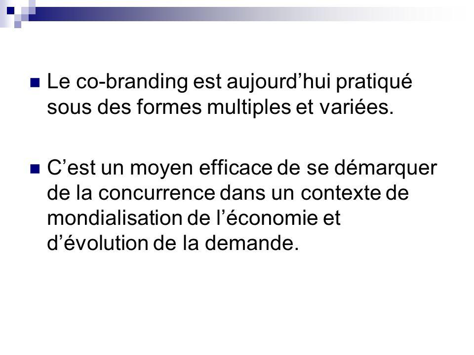 Le co-branding est aujourd'hui pratiqué sous des formes multiples et variées.